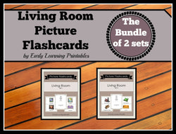 Printable flashcards for a toddler. Living Room Bundle of 2 sets.