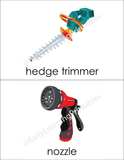 High-quality flashcards of gardening tools for your child.