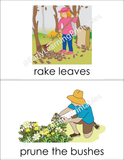 Beautiful set of gardening actions cards to teach names of garden activities!