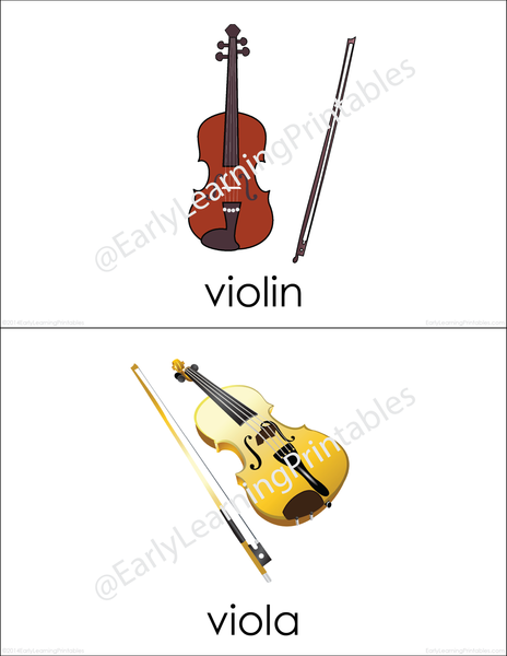 A great way to learn names of different musical instrument is using these adorable flashcards.