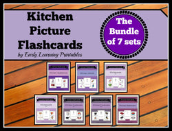 Beautiful Kitchen Bundle of 70 Printable Flashcards for a toddler.