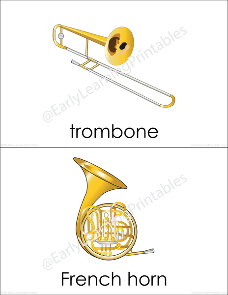 Attractive Musical Instruments (set II) flashcards for your child!