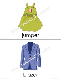 High-quality flashcards of a different types of clothing!