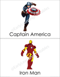 Printable Super Heroes picture cards for young children.