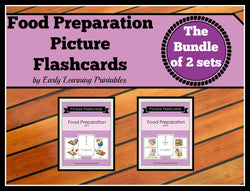 Beautiful 26 flashcards for toddlers representing every action that take place during food preparation.