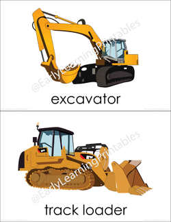 High-quality flashcards of a construction site for young children!