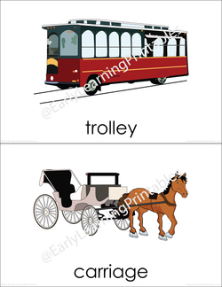 Beautiful Transportation (set III) flashcards to use with your child!