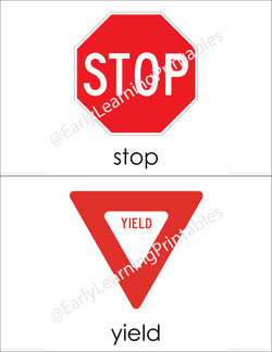 Attractive flashcards for learning different names of road signs!