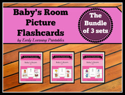 Colorful Baby's Room flashcards for toddlers. Bundles of 30 cards with pictures and words.