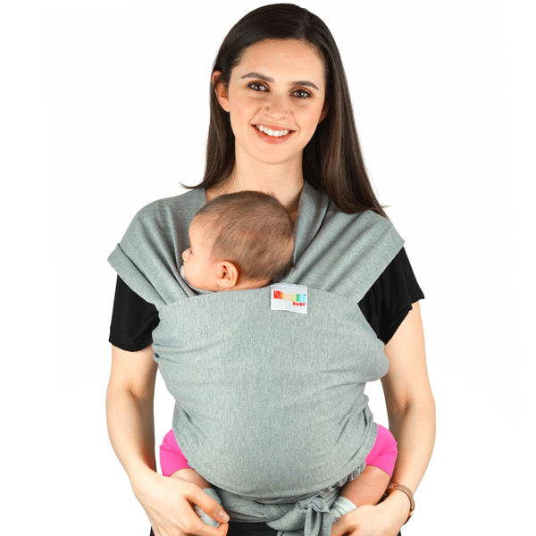 Baby Carrier Wrap Slings - Natural Cotton Multiple Positions Soft Lightweight Ergonomics for Newborn Infants from Birth Grey