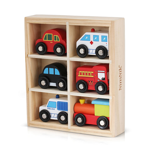 Wooden Toys Cars Bus Engine Emergency Vehicles Educational Early Learning Toys for 3 Year Olds