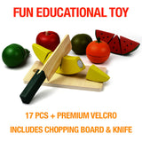 NimNik Food Wooden Toys Cutting Fruit Set Pretend Cutting Play Sets For Kids