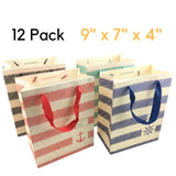 "NimNik Gift Bags Medium - Luxury 12 pcs Shopping Paper Bag 9"" x 7"" x 4"" inch Party Birthday Gift Bags"