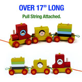 Wooden Train Set for Toddlers - Stacking Wooden Educational Toys for Kids