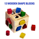 NimNik Wooden Shape Sorting Cube Classic Square Shape Sorter Baby First Blocks Shape-Sorting Toy for Early Learning for 3 Year Olds