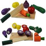 Cutting Fruit Vegetable Pretend Play Children Kid Educational Toy - Wooden Food Toys Set