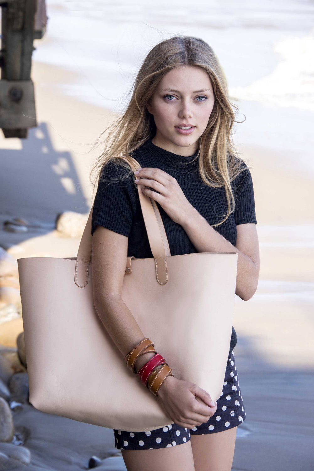 Grace Van Dien For Ben Hogestyn Malibu Louis Vuitton Veg Tan Leather Tote Hand Sewn Beach