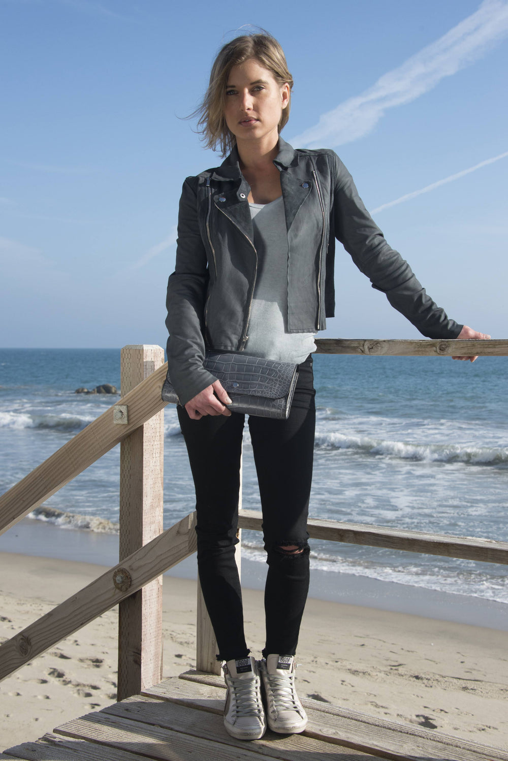 Ben Hogestyn Malibu Hermes Exotic Alligator Clutch Grey Hand Sewn Beach