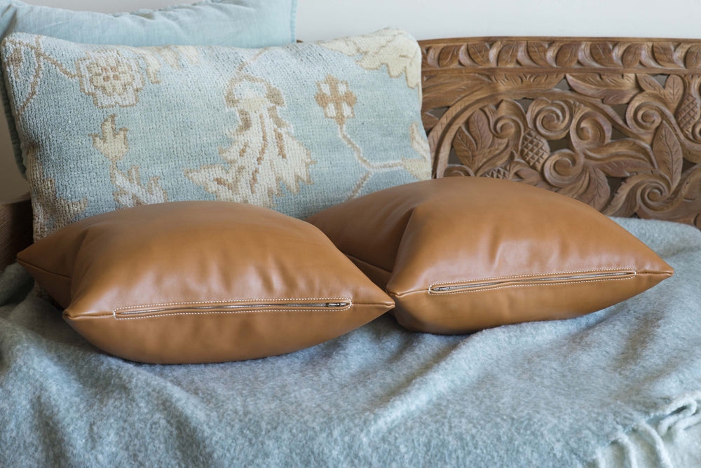 Hermes Tannery Leather Throw Pillows Hand Sewn Ben Hogestyn Malibu
