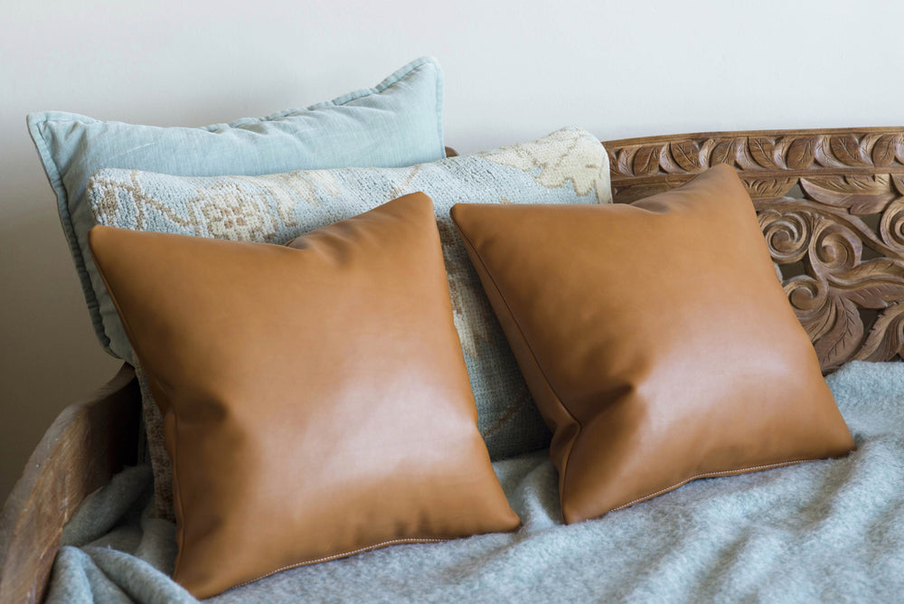 Hermes Leather Hand Sewn Ben Hogestyn Malibu Throw Pillows