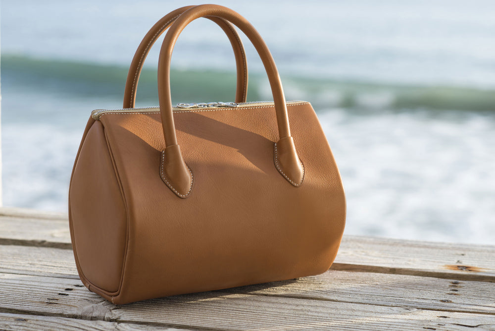 "A ""Victoria"" bag in British tan. Leather from the Hermes tannery. Entirely hand sewn in Malibu, CA by Ben Hogestyn"