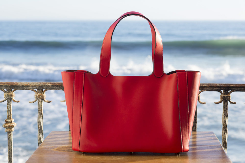 """Rachael"" tote in red calf. Leather from the Hermes tannery. Entirely hand sewn in Malibu, CA by Ben Hogestyn"
