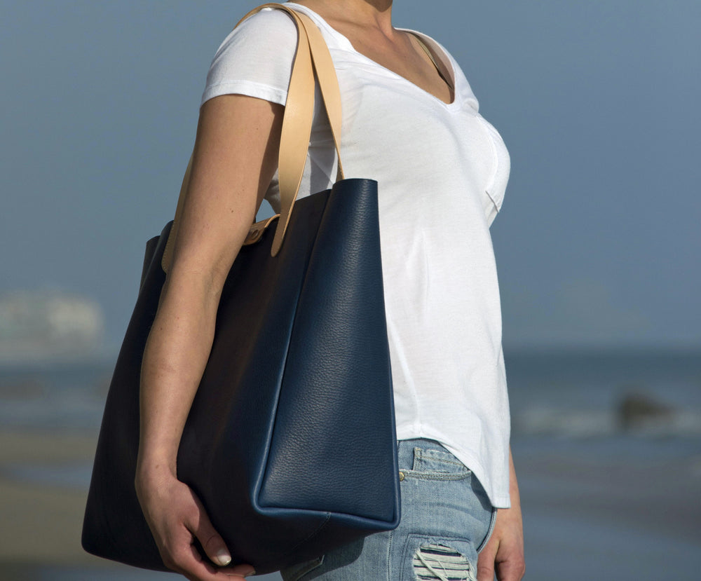 Louis Vuitton And Horween Leather Ben Hogestyn Malibu Tote Blue Hand Sewn Beach Side
