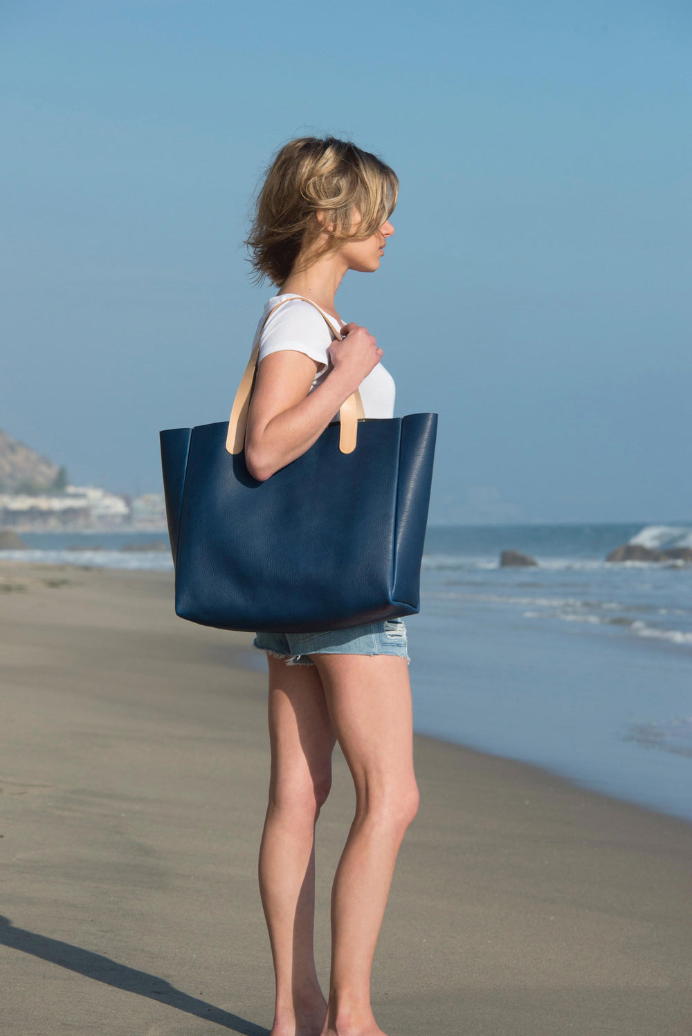 Louis Vuitton And Horween Leather Ben Hogestyn Malibu Tote Blue Hand Sewn Beach