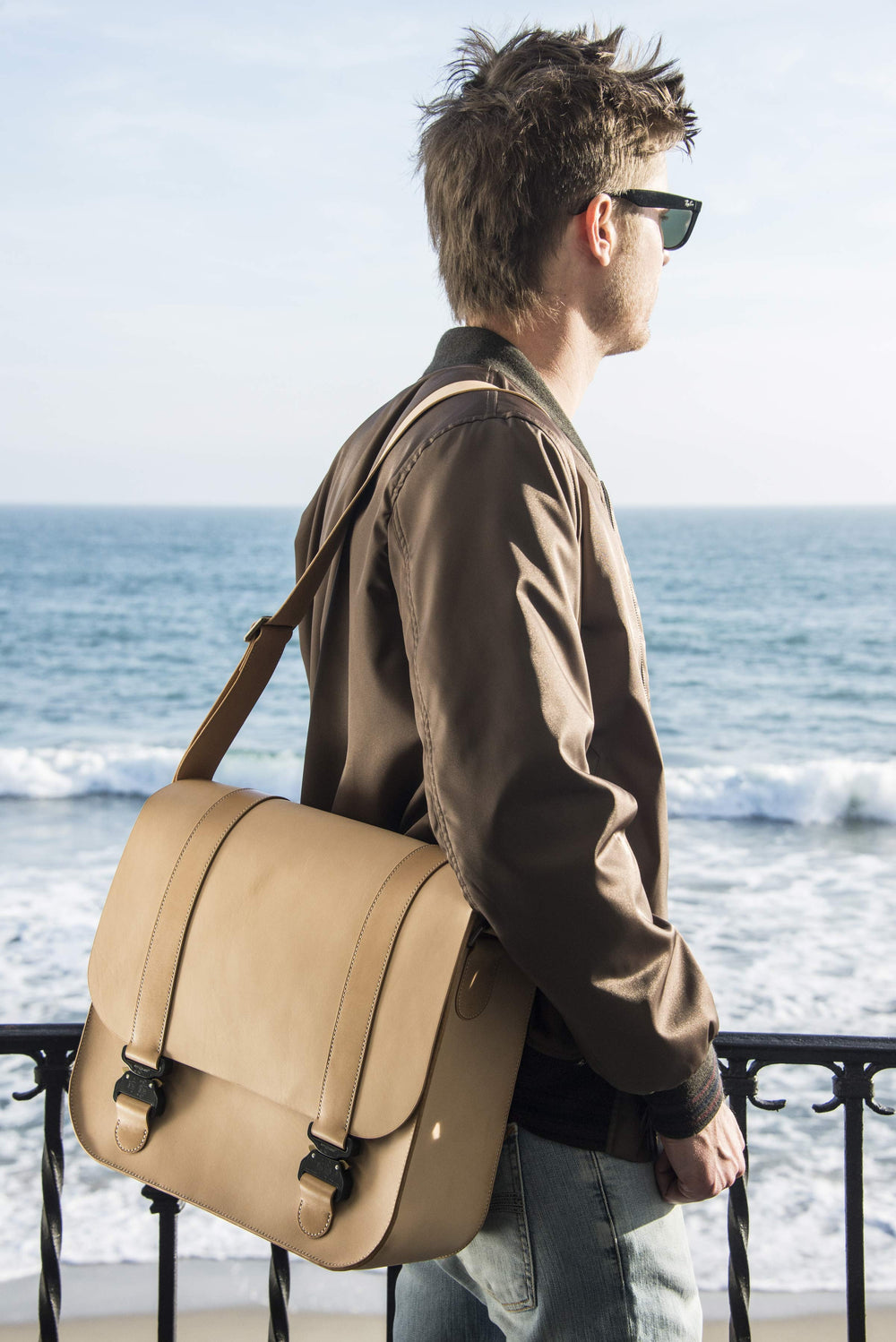 Ben Hogestyn Malibu Messenger Bag Built With Louis Vuitton Veg Tan Hand Sewn Beach