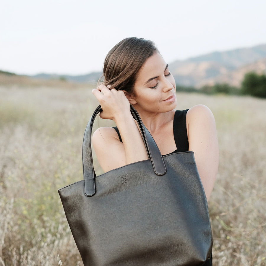 "BEN HOGESTYN MALIBU Hermes Tannery Leather Tote Grace Van Dien Modeling BLACK The ""ALEX"""