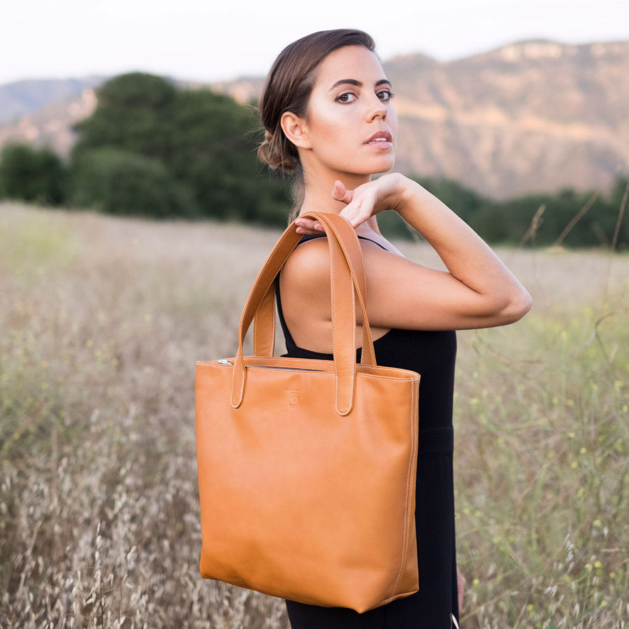 "BEN HOGESTYN MALIBU Hermes Tannery Leather Tote Grace Van Dien Modeling The ""ALEX"" In British Tan"