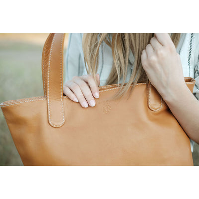 "BEN HOGESTYN MALIBU Hermes Tannery Leather Tote Detail Grace Van Dien Modeling The ""ALEX"" In British Tan"
