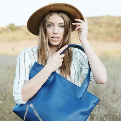 "BEN HOGESTYN MALIBU Hermes Tannery Leather Tote Grace Van Dien Modeling The ""ALEX"" in ELECTRIC BLUE"