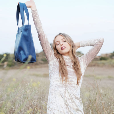"BEN HOGESTYN MALIBU Hermes Tannery Leather Tote Grace Van Dien Modeling The ""ALEX"" in ELECTRIC BLUE Sideview"