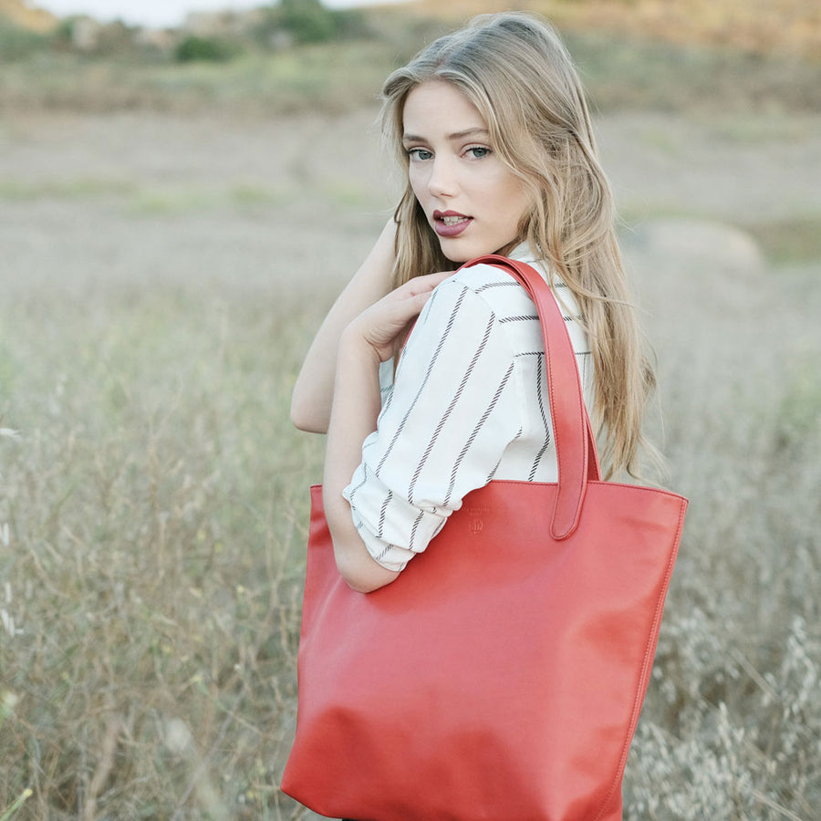 "BEN HOGESTYN MALIBU Hermes Tannery Leather Tote in RED The ""ALEX"" SIDEVIEW"