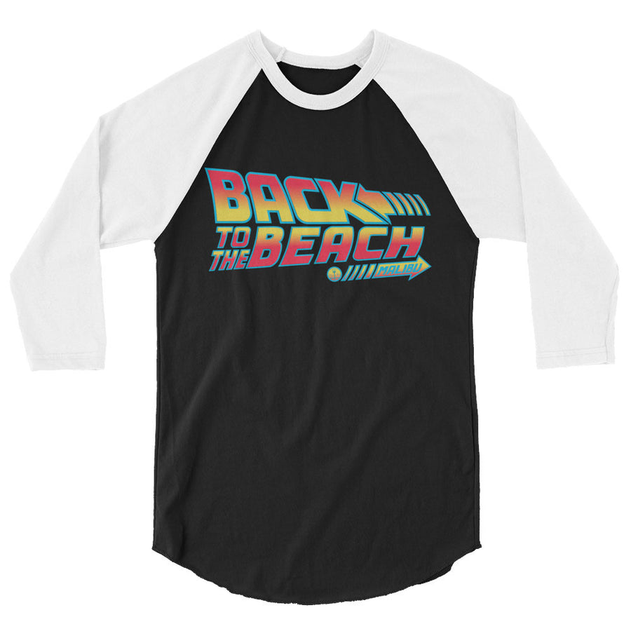 "Back to the Future 80s movie inspired Graphic 3/4 sleeve baseball tee ""Back To The Beach"" (Heather Grey/Heather Red) by BEN HOGESTYN MALIBU"