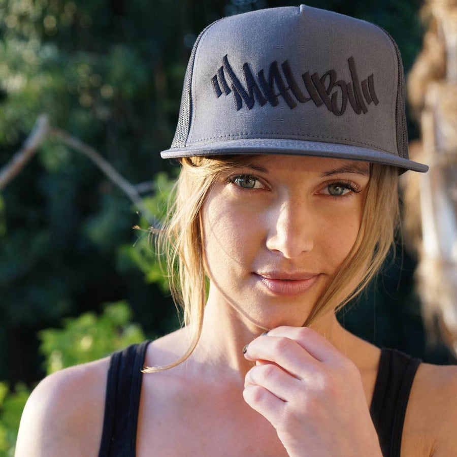 """MALIBU GRAFFITI"" Embroidered Snapback Trucker Hat 