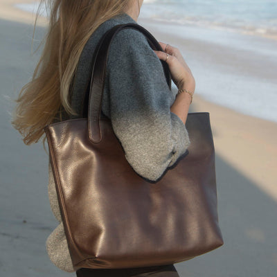 "Malibu Beach Hermes Tannery Leather Tote The ""ALEX"" by BEN HOGESTYN MALIBU in Chocolate Brown (Sideview)"