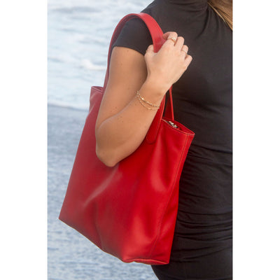"Malibu Beach Hermes Tannery Leather Tote The ""ALEX"" by BEN HOGESTYN MALIBU in Lipstick Red (Detail)"