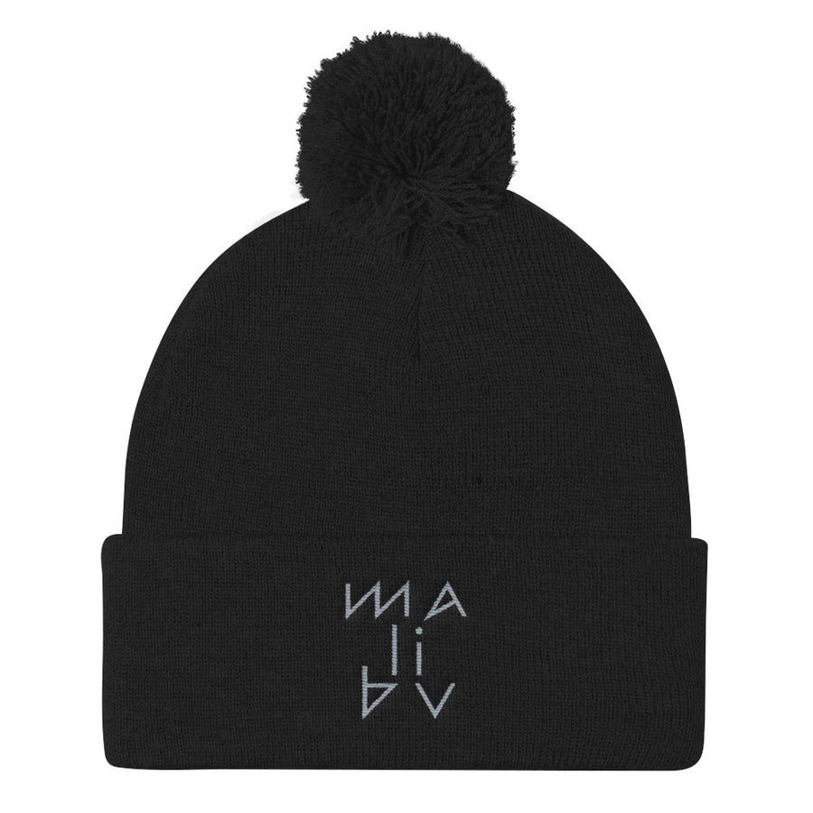 Malibu Hieroglyphics Embroidered Pom Pom Beanie Hat by BEN HOGESTYN MALIBU Red