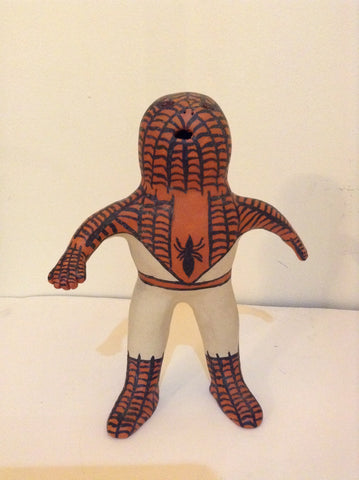 Native American pottery Spider-Man sculpture signed Martha Arquero Cochiti