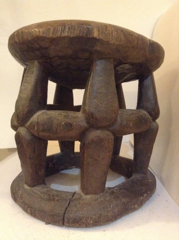 Antique African Varved Stool with Highly Abstract Design