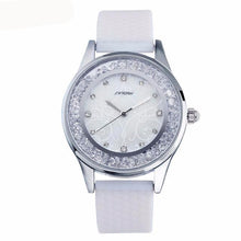 Fashion quartz women's watches diamonds wrist watch, silicone watchband.