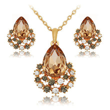 Jewelry sets rose gold crystal fashion. Necklace earrings luxury wedding women bridal gift perhiasan african bridal.