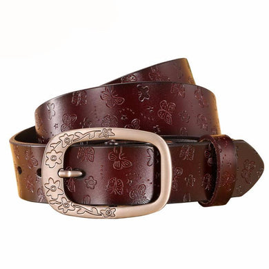 Design belts women high quality. Luxury genuine leather girls. Ladies' belt for jeans. Casual vintage flower.