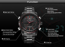 Luxury brand, Men's fashion sports watches. Quartz, digital analog clock, full Steel.