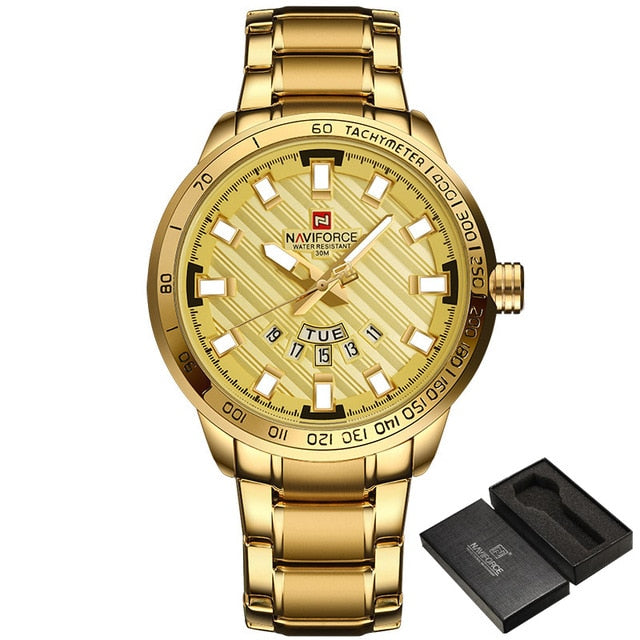 Men's stainless steel gold watch. Multi-function digital display. Precise dual movement display. BUY IT NOW!