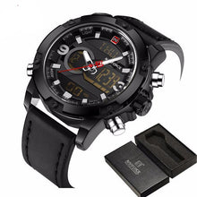 Men's sport watches. Men's quartz LED analog clock man military, waterproof wristwatch.