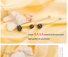 925 sterling silver natural freshwater pearl fine jewelry for women long earrings and necklace set.