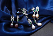 Pearl Jewelry Sets 925 Silver Freshwater Pearl Pendant Necklace With Studs Earrings.